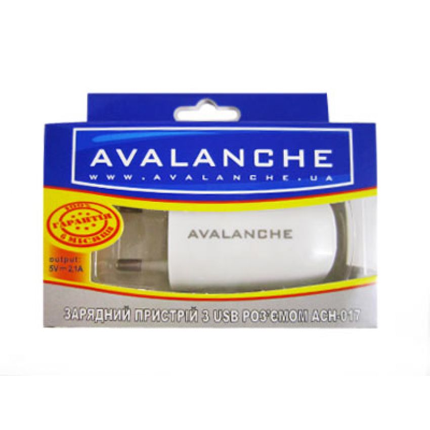 Avalanche СЗУ c USB разъемом 2.1A (ACH-017)