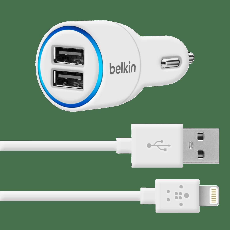 АЗУ Belkin iPhone 5/5S 2.1A+2.1A 2in1 (AЗУ+USB Cable) White