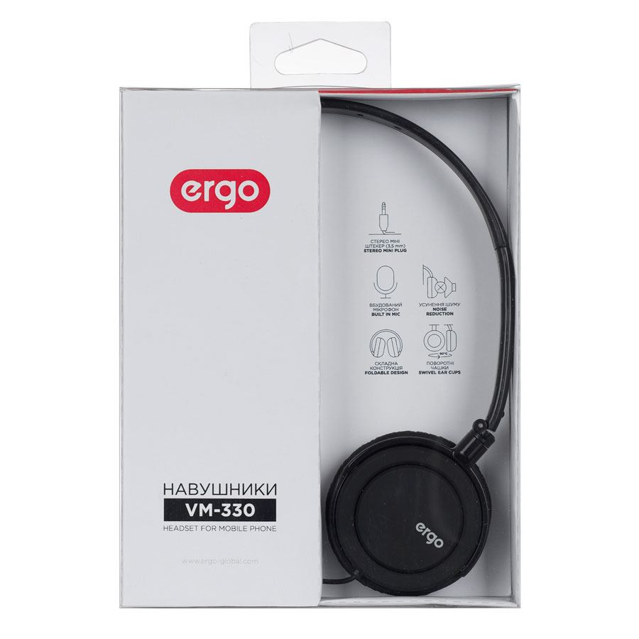 Наушники ERGO Ear VM-330 + mic Black
