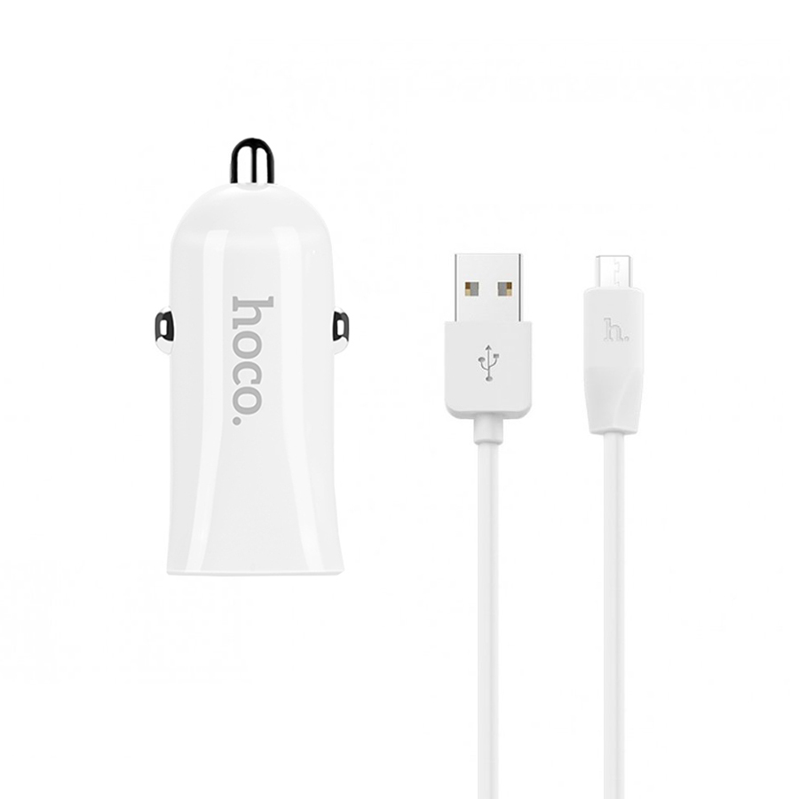 АЗУ Hoco Z12 Elite Two-Port 2.4A+2.4A + Cable Micro USB White