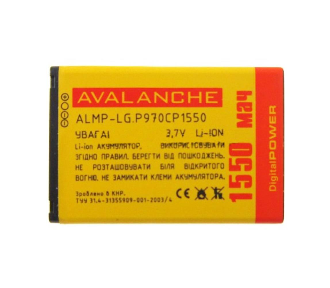 АКБ LG P970/E400 L3/E610 L5/E405 L3 Dual/P960/E730/P698/C660/E510 - 1550 мАч Avalanche Prem