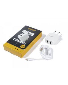СЗУ Aspor A829 2USB 2.4A + Lightning White