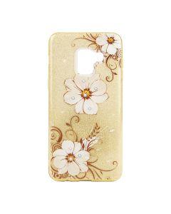 Чехол накладка Dream Case Flowers для Samsung J3-2017/J330 Gold