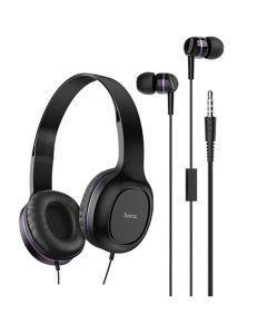 Наушники Hoco W24 (накладные и вакуумные) Black/Violet