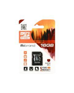 Карта памяти Mibrand 16 GB microSDHC Class 10 UHS-I + SD Adapter MICDHU1/16GB-A