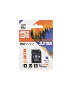Карта памяти Mibrand 32 GB microSDHC Class 10 UHS-I + SD Adapter MICDHU1/32GB-A