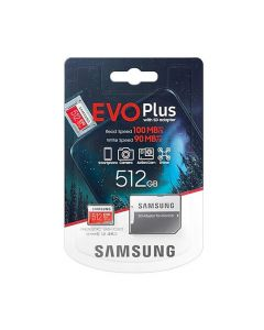 Карта памяти Samsung 512GB microSDXC C10 UHS-I U3 R100/W90MB/s Evo Plus + SD Adapter