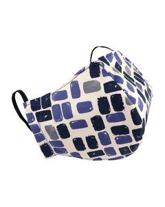 Многоразовая защитная маска для лица белая с синими прямоугольниками (размер M)