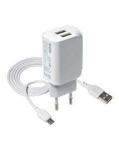 СЗУ XO L35D 2USB 2.1A + Micro USB Cable White