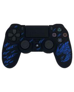 Силиконовый чехол для джойстика Sony PlayStation PS4 Type 1 Black with Dragon Blue тех.пак