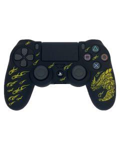 Силиконовый чехол для джойстика Sony PlayStation PS4 Type 1 Black with Dragon Yellow тех.пак