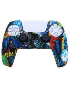 Силиконовый чехол для джойстика Sony PlayStation PS5 Type 8 Graffiti Blue тех.пак