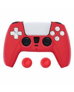 Силиконовый чехол для джойстика Sony PlayStation PS5 Type 6 Red + накладки на аналоговые стики